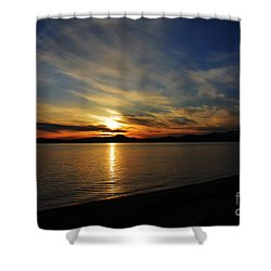 Welcome Beach 2015 3 Shower Curtain by Elaine Hunter
