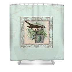 Welcome To Our Nest - Vintage Bird W Egg Shower Curtain by Audrey Jeanne Roberts