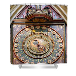 Shower Curtain featuring the photograph Wells Cathedral Clock by Colin Rayner