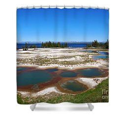 West Thumb Geyser Basin In Yellowstone National Park Shower Curtain by Louise Heusinkveld