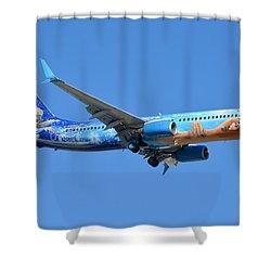 Westjet Boeing 737-8ct C-gwsv Frozen Phoenix Sky Harbor January 29 2016 Shower Curtain by Brian Lockett