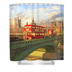 Westminster Bridge Shower Curtain by Dominic Davison