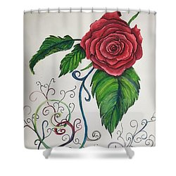 Whimsical Red Rose Shower Curtain