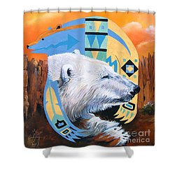 White Bear Goes Southwest Shower Curtain