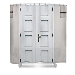White Door Shower Curtain