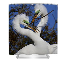 White Egrets Working Together Shower Curtain
