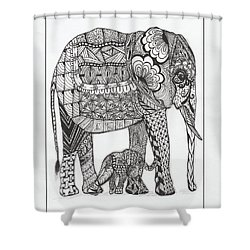 White Elephant And Baby Shower Curtain by Kathy Sheeran