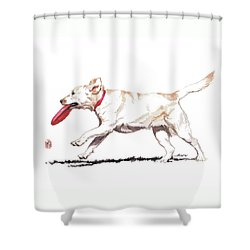 White Frisbee Dog Shower Curtain
