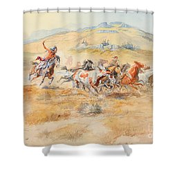 Shower Curtain featuring the painting Wild Horses by Celestial Images