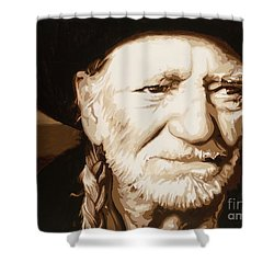 Shower Curtain featuring the painting Willie Nelson by Ashley Price