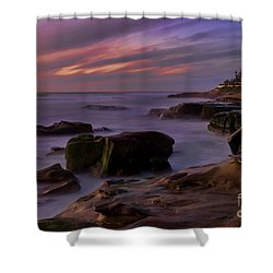 Windansea Beach At Dusk Shower Curtain by Eddie Yerkish
