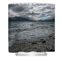 Shower Curtain featuring the photograph Windy Day On Lake Wakatipu by Gary Eason