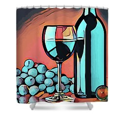 Wine Glass Bottle And Grapes Abstract Pop Art Shower Curtain