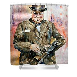 Winston Churchill Portrait Shower Curtain