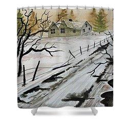 Winter Farmhouse Shower Curtain by Jimmy Smith