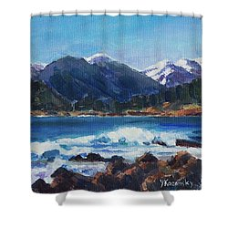 Shower Curtain featuring the painting Winter Mountains Alaska by Yulia Kazansky