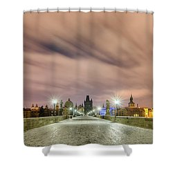 Winter Night At Charles Bridge, Prague, Czech Republic Shower Curtain