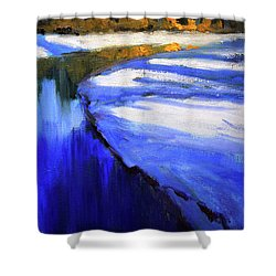 Shower Curtain featuring the painting Winter River by Nancy Merkle