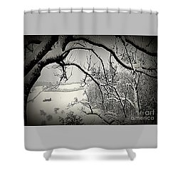 Shower Curtain featuring the photograph Winter Scene In Switzerland by Susanne Van Hulst