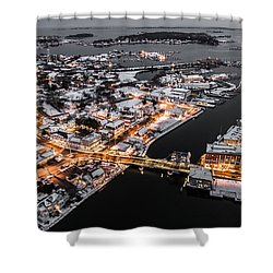 Winter Twilight In Mystic Connecticut Shower Curtain by Petr Hejl