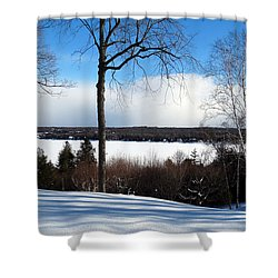Shower Curtain featuring the photograph Winter View Of Sister Bay by David T Wilkinson