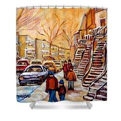 Winter Walk In Montreal Shower Curtain by Carole Spandau