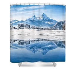 Winter Wonderland In The Alps Shower Curtain