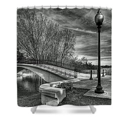 Shower Curtain featuring the photograph Winter's Bridge by Rodney Campbell