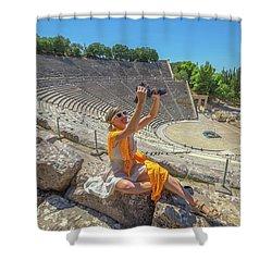 Woman Photographer Selfie Shower Curtain