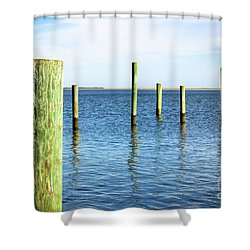 Shower Curtain featuring the photograph Wood Pilings by Colleen Kammerer