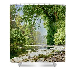 Wooded Riverscape Shower Curtain by Leopold Rolhaug
