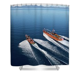 Wooden Boat Aerial Shower Curtain by Steven Lapkin