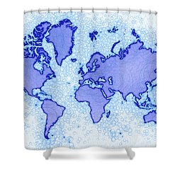 World Map Airy In Blue And White Shower Curtain by Eleven Corners