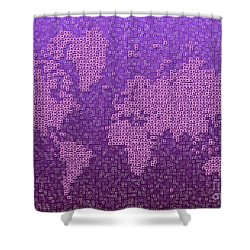 World Map Kotak In Purple Shower Curtain