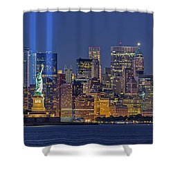 Shower Curtain featuring the photograph World Trade Center Wtc Tribute In Light Memorial II by Susan Candelario