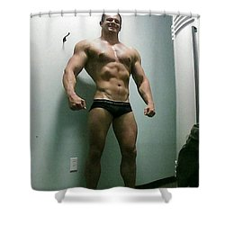 Wrestler Shower Curtain by Jake Hartz