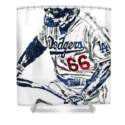 Shower Curtain featuring the mixed media Yasiel Puig Los Angeles Dodgers Pixel Art by Joe Hamilton