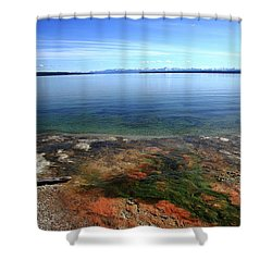 Shower Curtain featuring the photograph Yellowstone Lake Colors by Frank Romeo