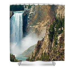 Yellowstone Waterfalls Shower Curtain by Sebastian Musial