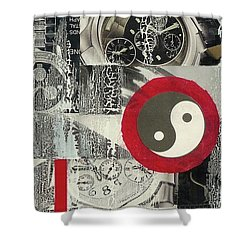 Shower Curtain featuring the mixed media Ying Yang by Desiree Paquette