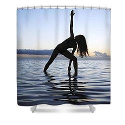 Yoga On The Coastline Shower Curtain by Brandon Tabiolo - Printscapes