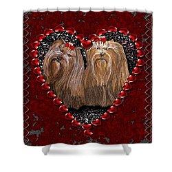 Shower Curtain featuring the digital art Yorkie Heart by Michelle Audas