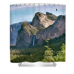 Yosemite Falls Shower Curtain by Walter Colvin
