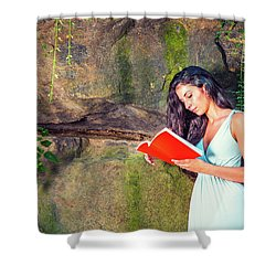 Young American Woman Reading Book At Central Park, New York, In  Shower Curtain
