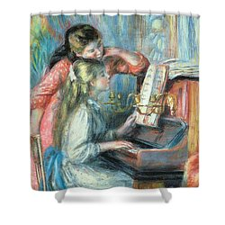 Young Girls At The Piano Shower Curtain by Pierre Auguste Renoir