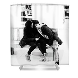 Shower Curtain featuring the photograph Young Romantic Couple Sharing A Mobile Phone by John Williams