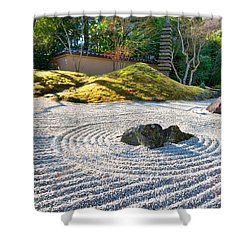 Zen Garden At A Sunny Morning Shower Curtain by Ulrich Schade