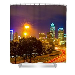 Downtown Of Charlotte  North Carolina Skyline Shower Curtain by Alex Grichenko
