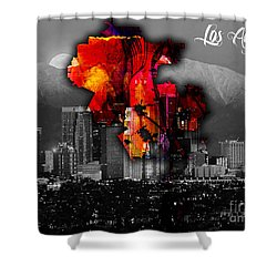 Los Angeles Map And Skyline Shower Curtain by Marvin Blaine