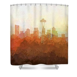 Shower Curtain featuring the digital art Seattle Washington Skyline by Marlene Watson